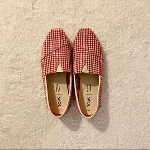 TOMS Red and White Gingham Plaid Canvas Shoes